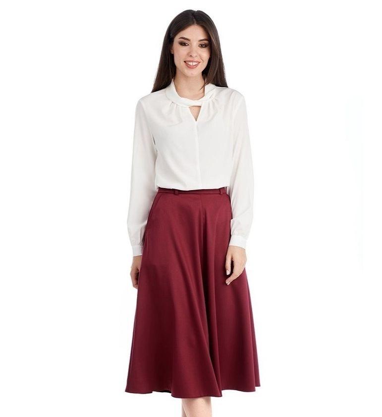 Элегантная юбка цвета бордо LalaStyle W10022