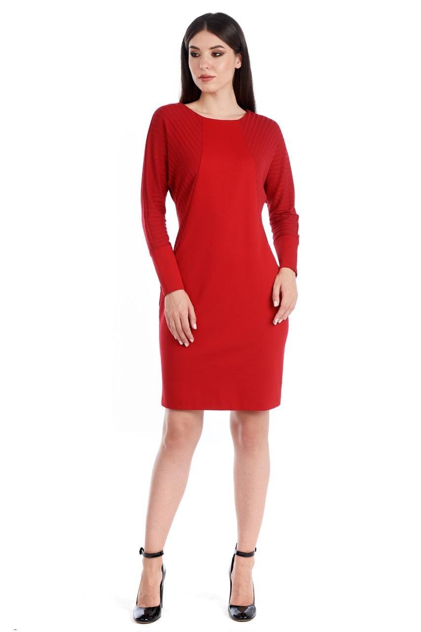 Красное платье летучая мышь LalaStyle W01059