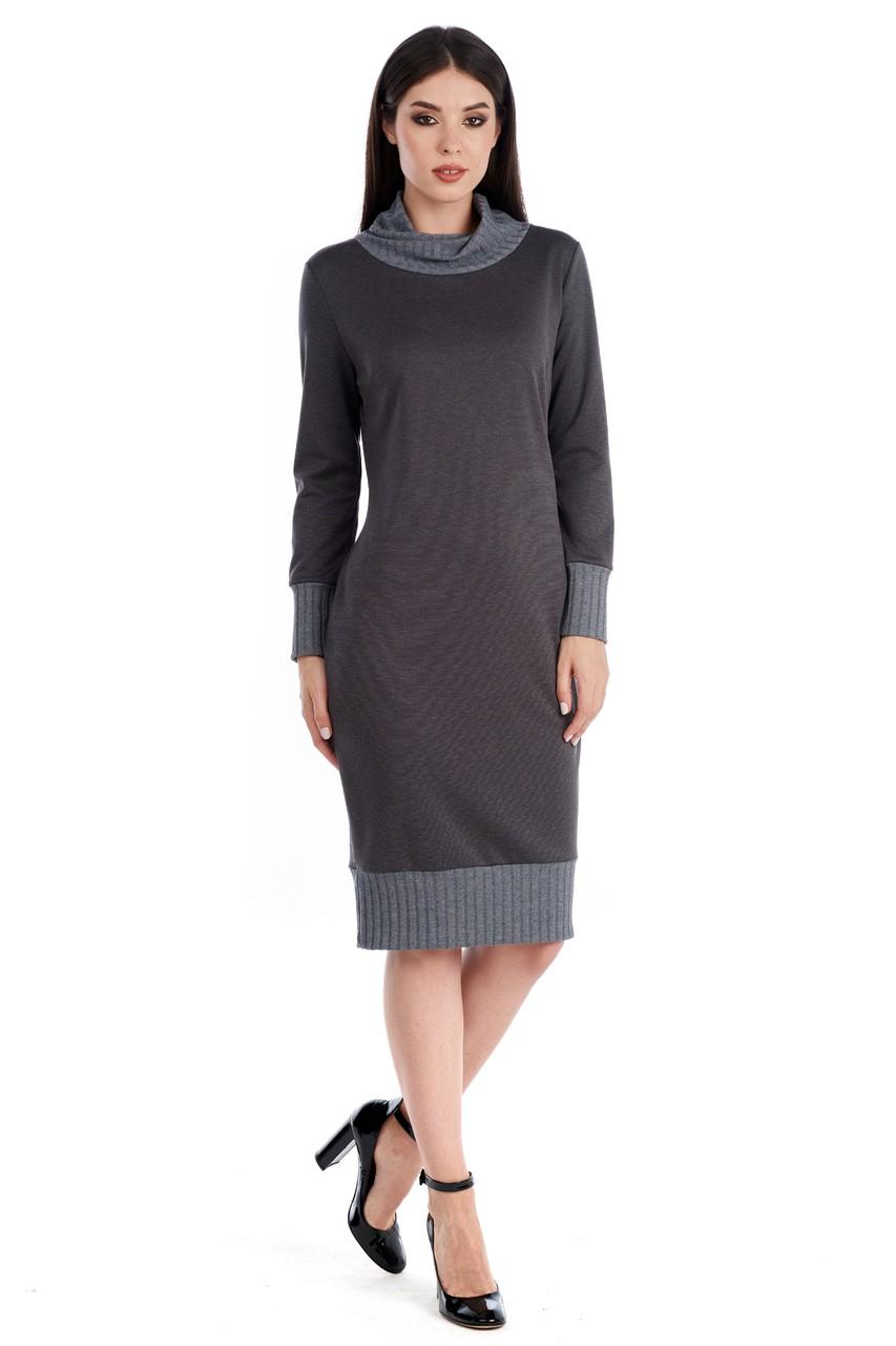 Серое платье женское LalaStyle W01099