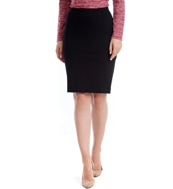 Женская черная юбка с разрезом LalaStyle W10030