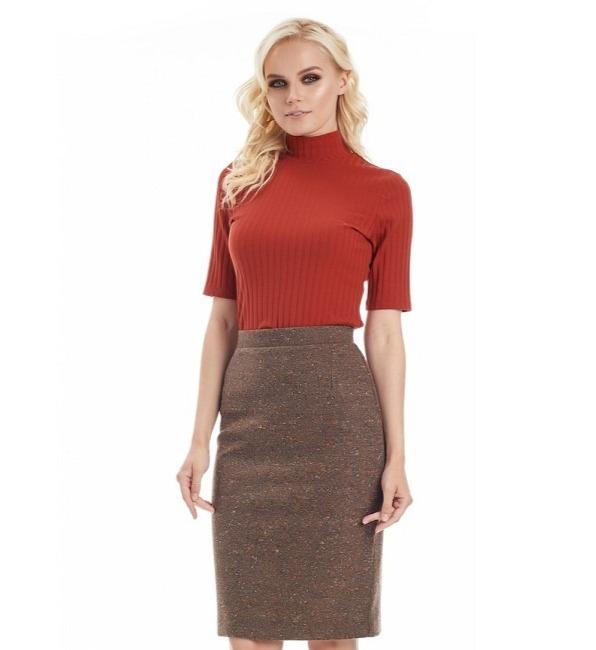 Женская коричневая юбка LalaStyle W10015