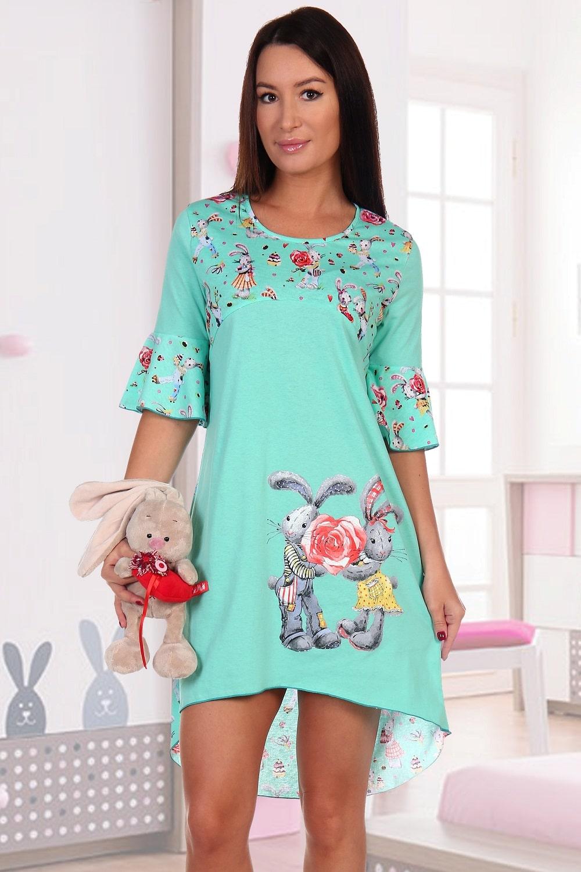Ментоловая молодежная сорочка с зайчиками