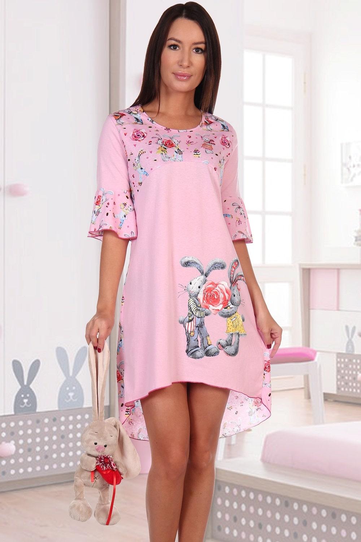 Розовая молодежная сорочка с зайчиками