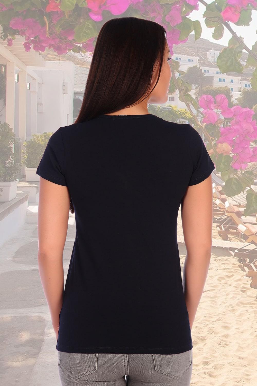 Темно-синяя футболка женская