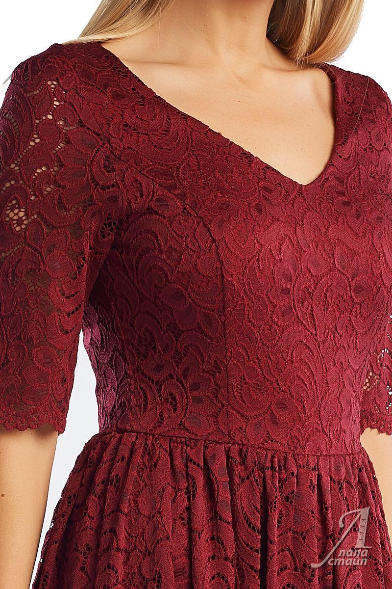 Бордовое гипюровое платье Lala Style 1357