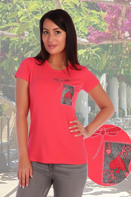 Коралловая женская футболка со стразами