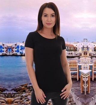 Черная женская футболка однотонная