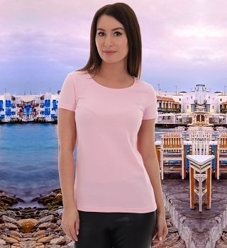 Розовая женская футболка без рисунка