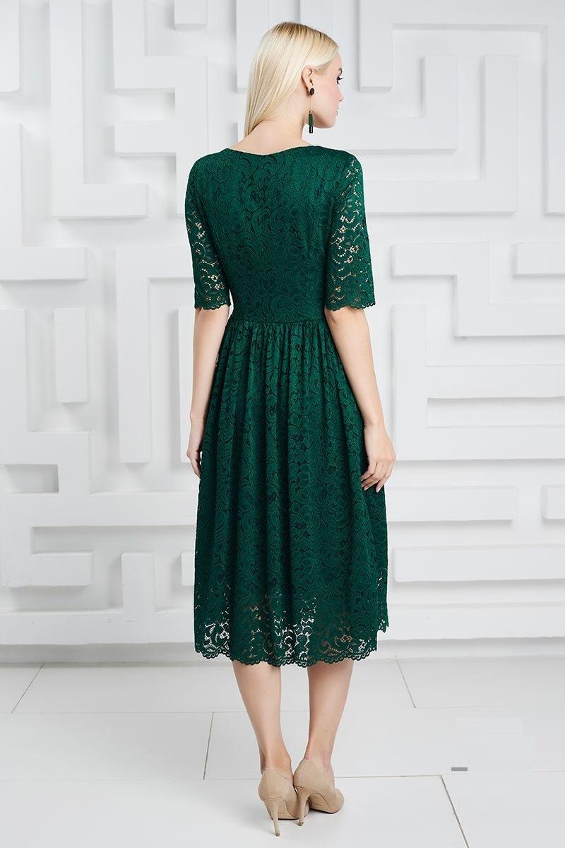 Зеленое гипюровое платье 1357
