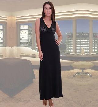 Длинная ночная сорочка черного цвета