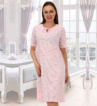 Ночная женская рубашка с коротким рукавом