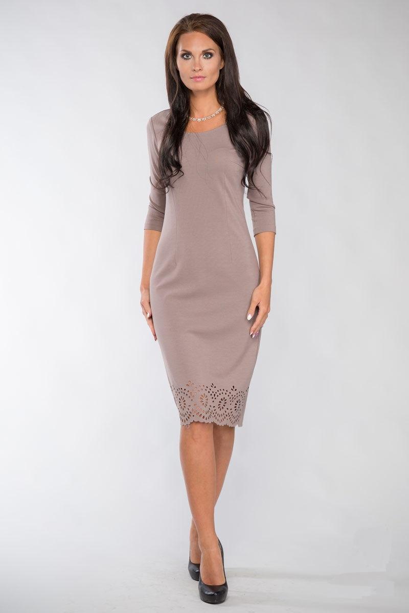 Бежевое платье Lala Style 1098-24