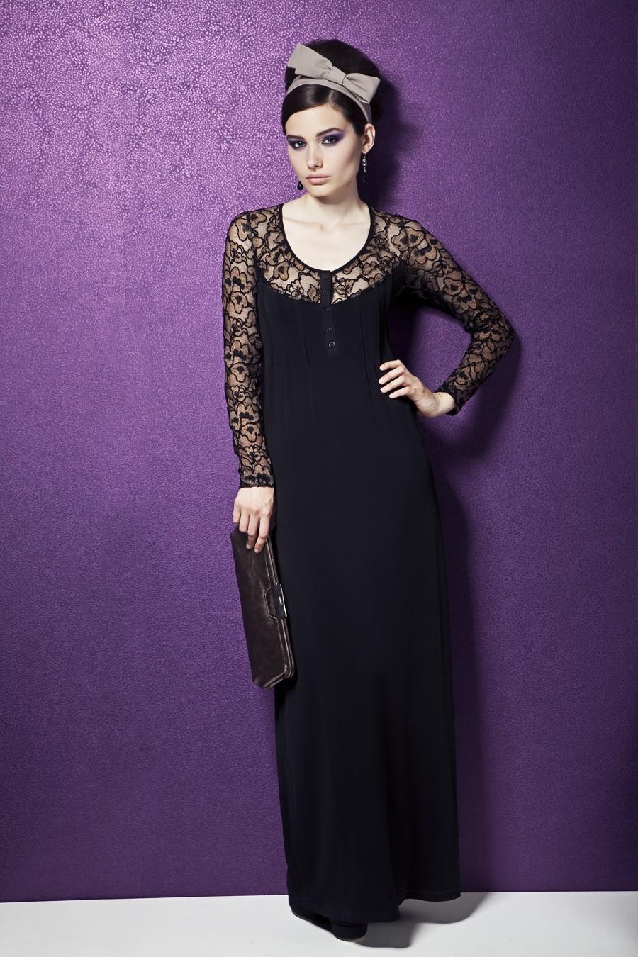 Длинное вечерние платье черного краска а TopDesign PB3 42