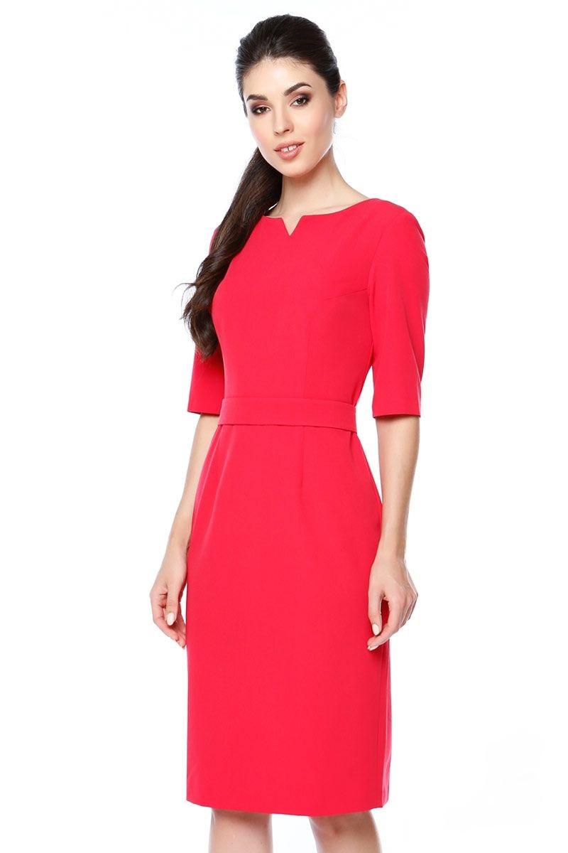 Красное платье в офис Lala Style 1272-04