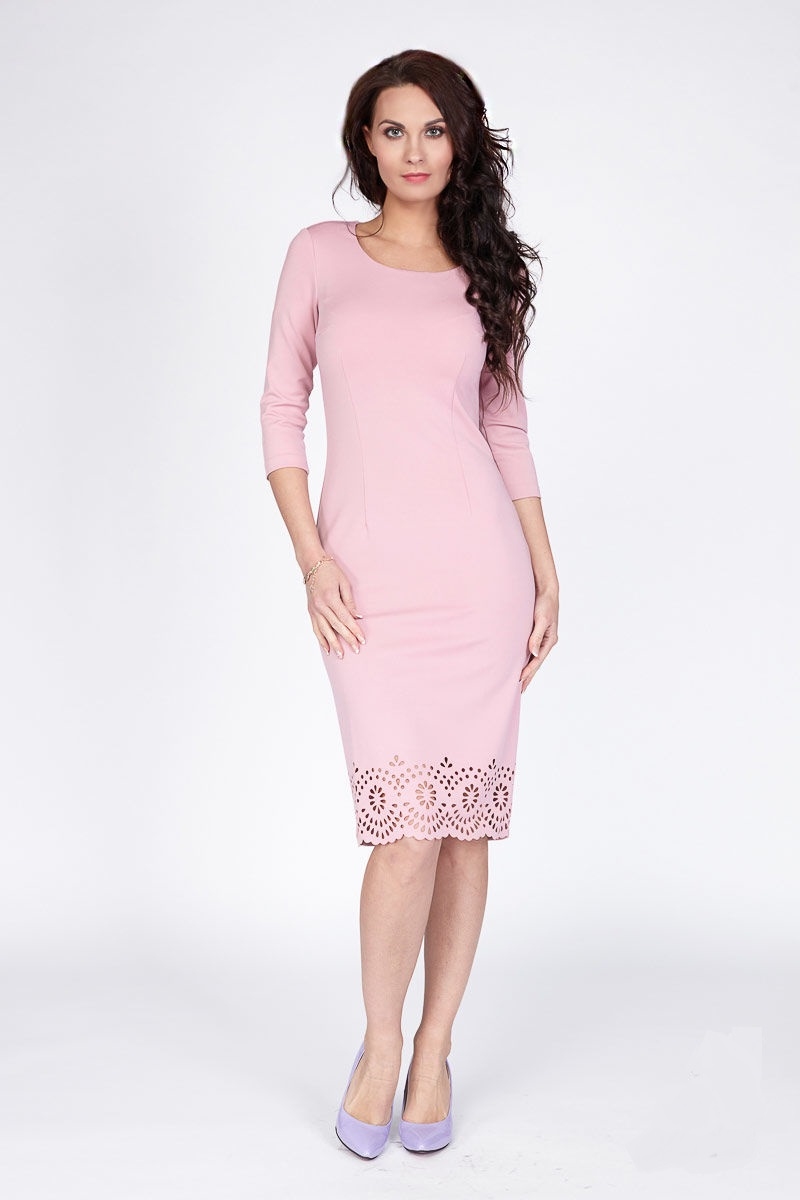 Розовое платье с лазерной резкой Lala Style 1098-106