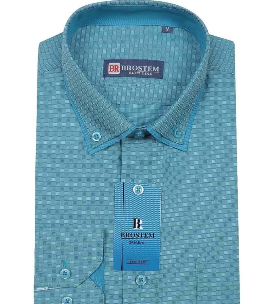 Полуприталенная рубашка с двойным воротничком Brostem 6053-1Z