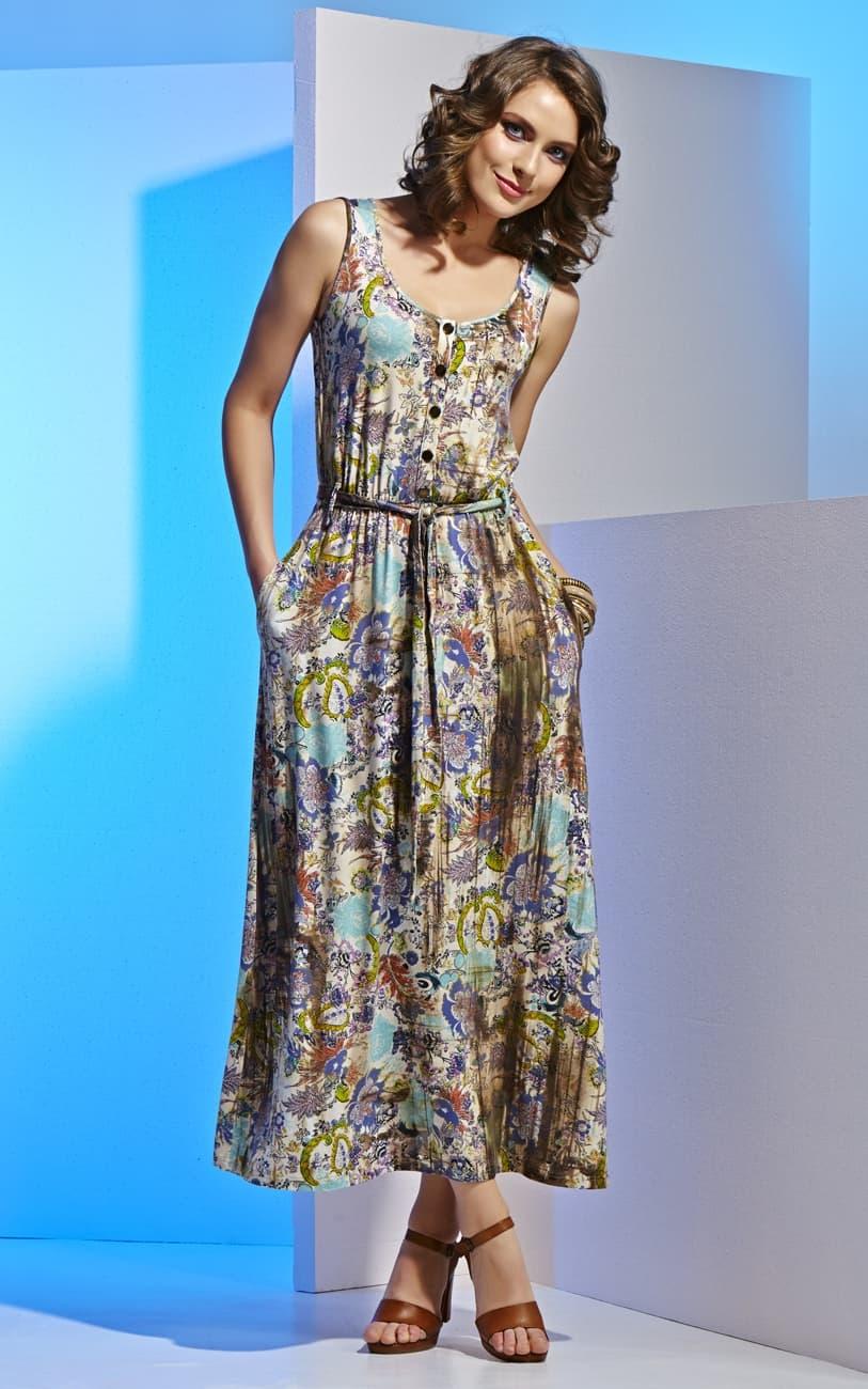 Платье из вискозы с пуговицами Top Design А4 016