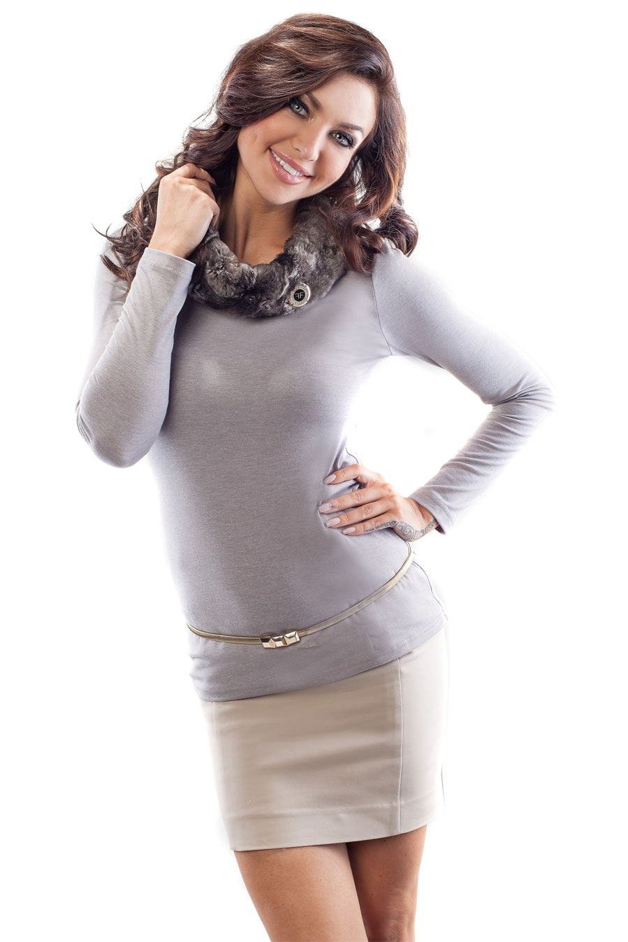 Стильная блузка с мехом Enny 18015