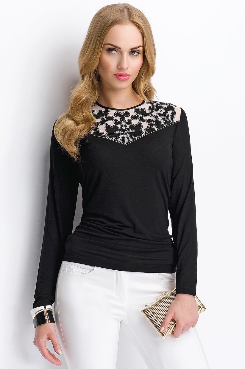 Черная блузка с долгим  рукавом Sunwear Р59