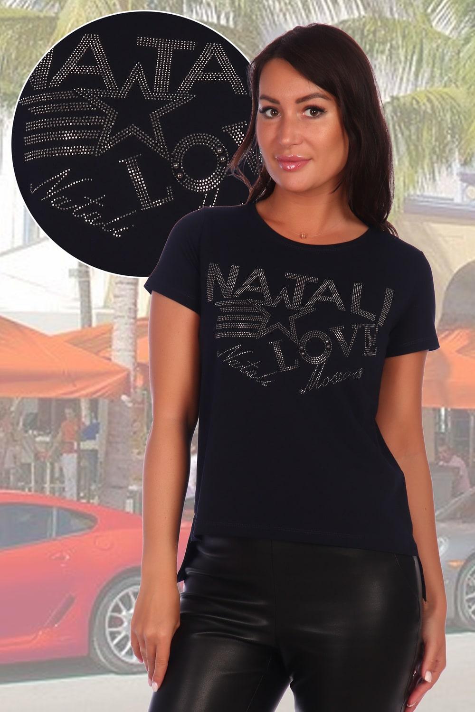 Темно-синяя женская футболка с надписями