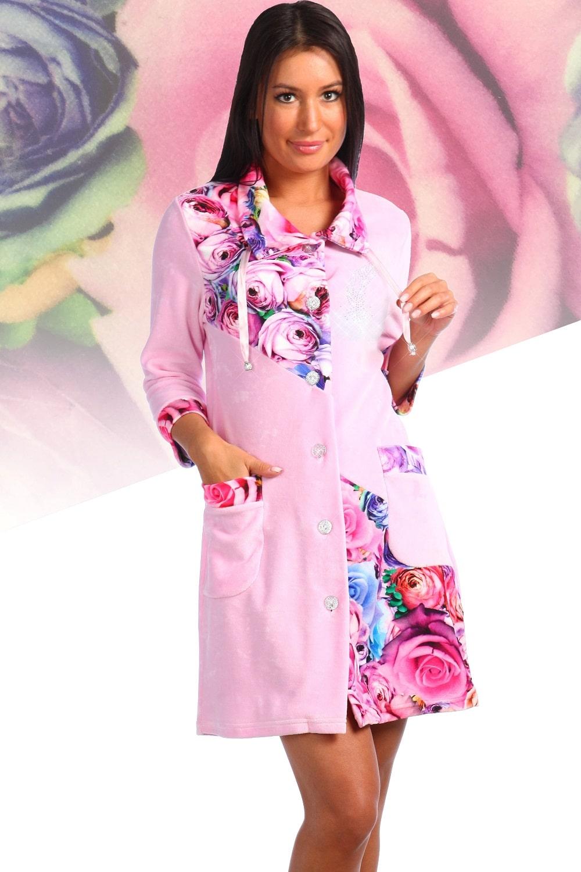 Очаровательный велюровый женский халат