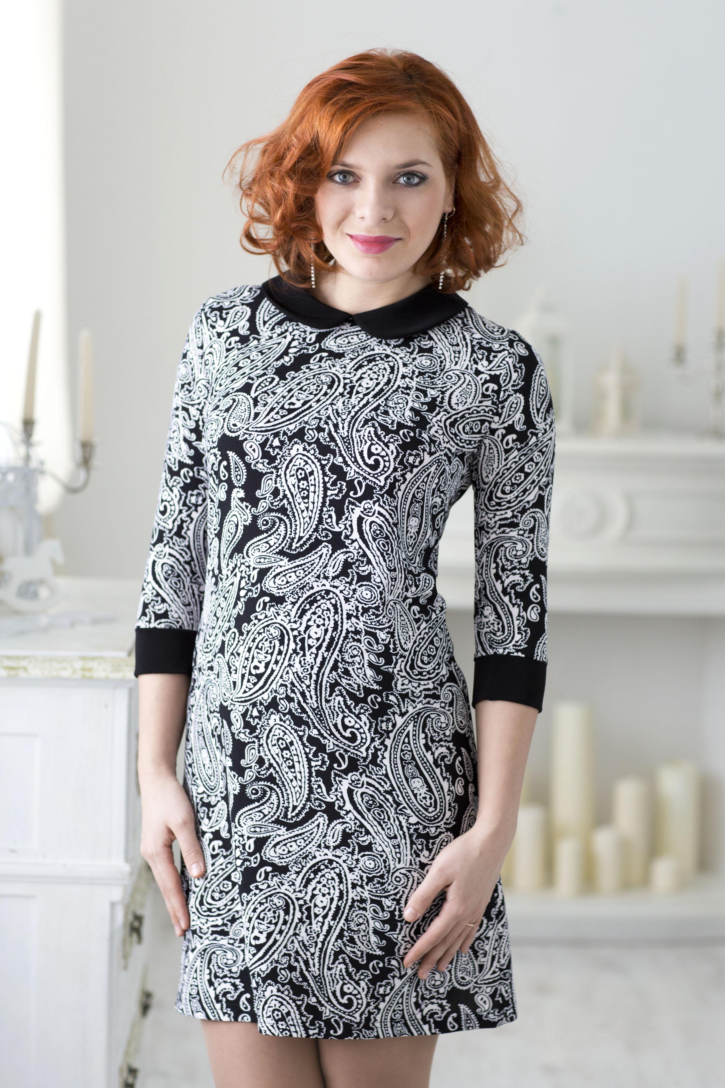 Недорогое черно-белое платье Lautus