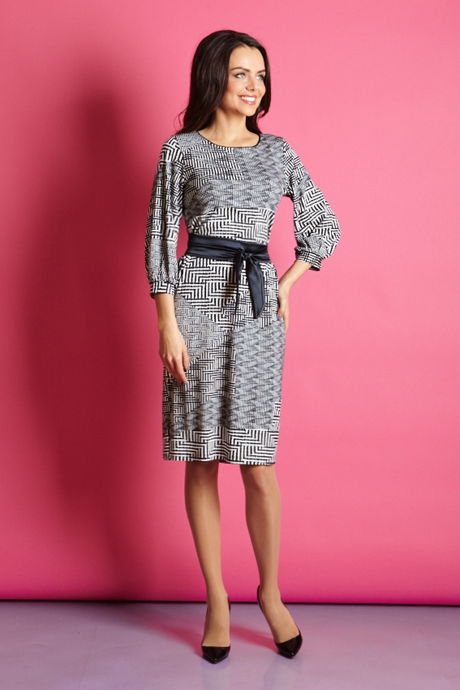 Элегантное платье с поясом TopDesign В5 023