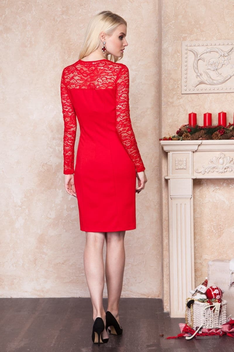 Красное платье Lala Style 1153-26
