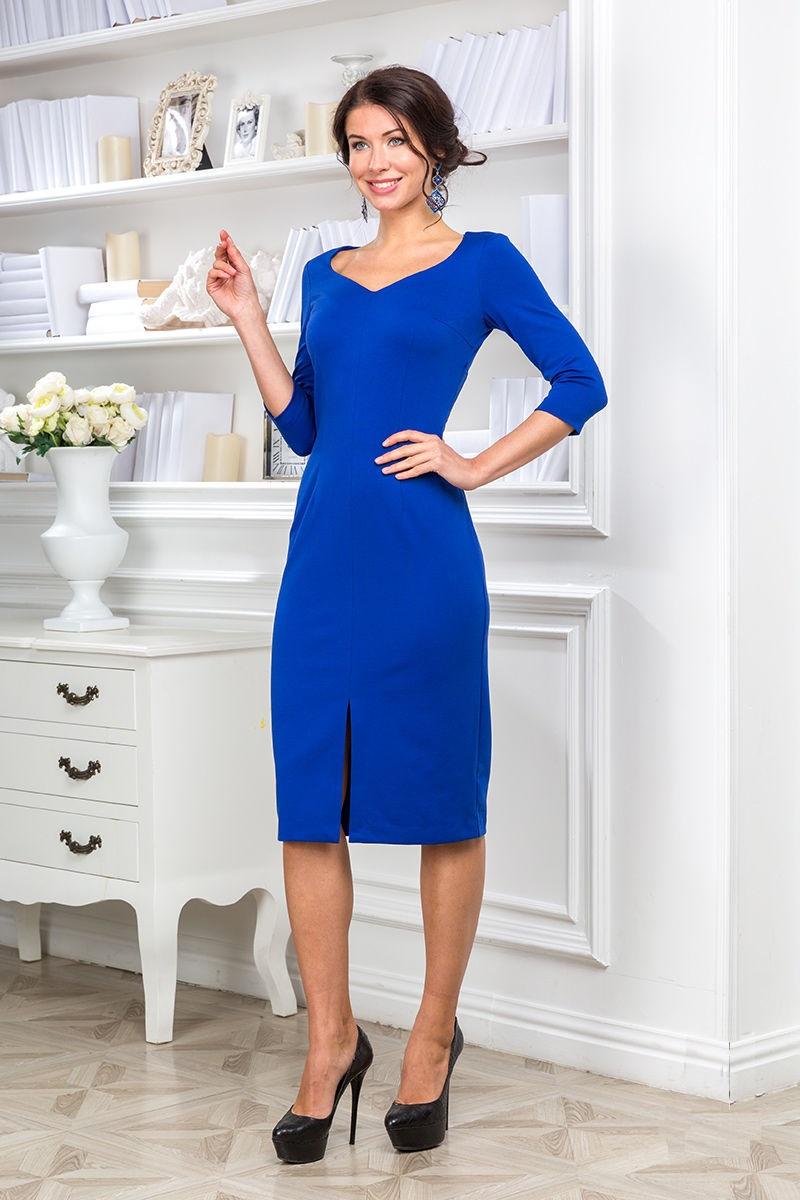 Синие платье с разрезом LalaStyle 1133-26