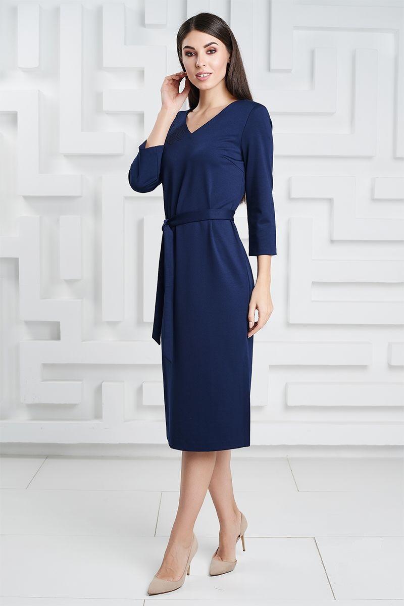 Платье с аппликацией темно синего цвета LalaStyle 1324