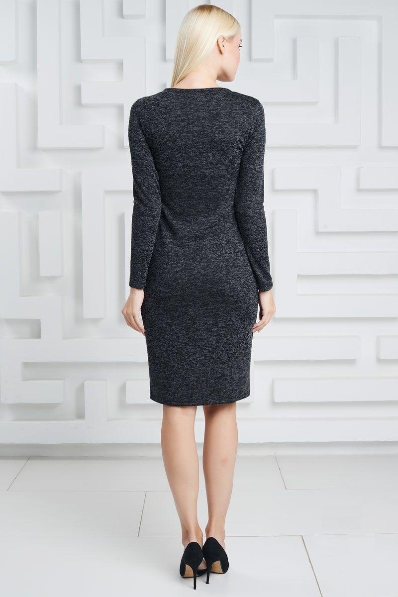 Черное платье в диагональную полоску Lala Style1434