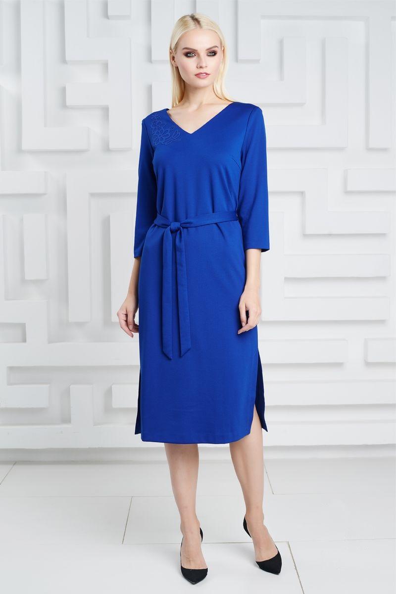 Васильковое платье с аппликацией LalaStyle 1324