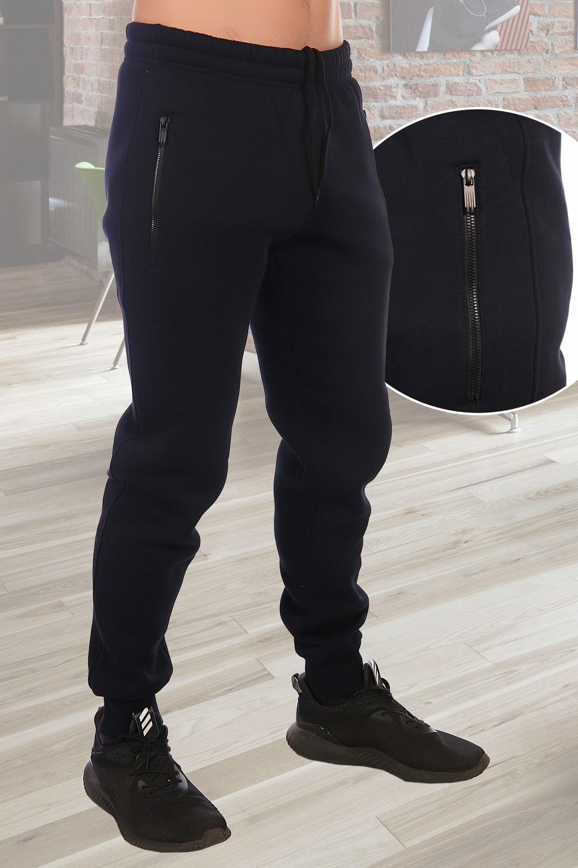 Теплые темно-синие брюки