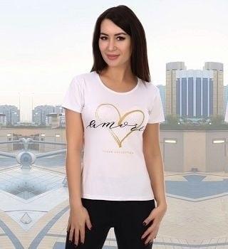 Белая футболка с принтом женская