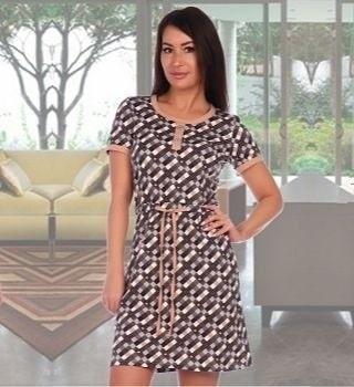 Домашнее платье с коротким рукавом
