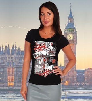 Черная футболка женская с принтом