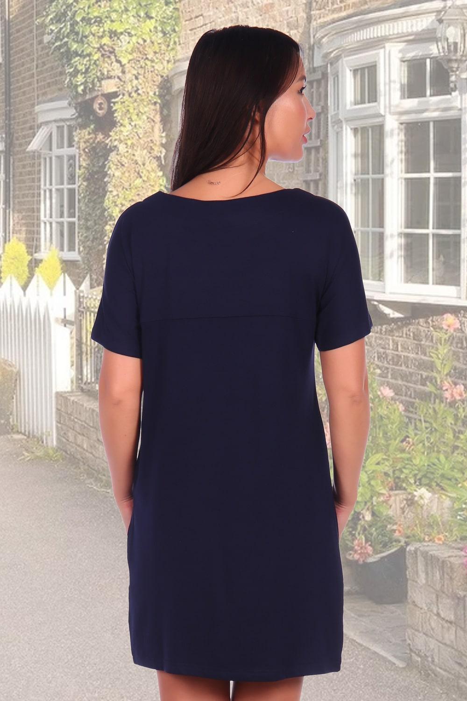 Женское темно-синие платье с принтом из страз