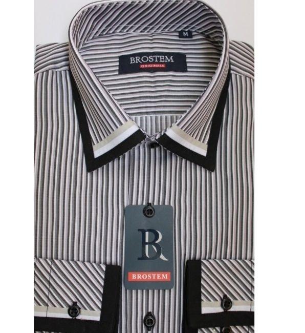Мужская приталенная рубашка T979-3 комбинированная