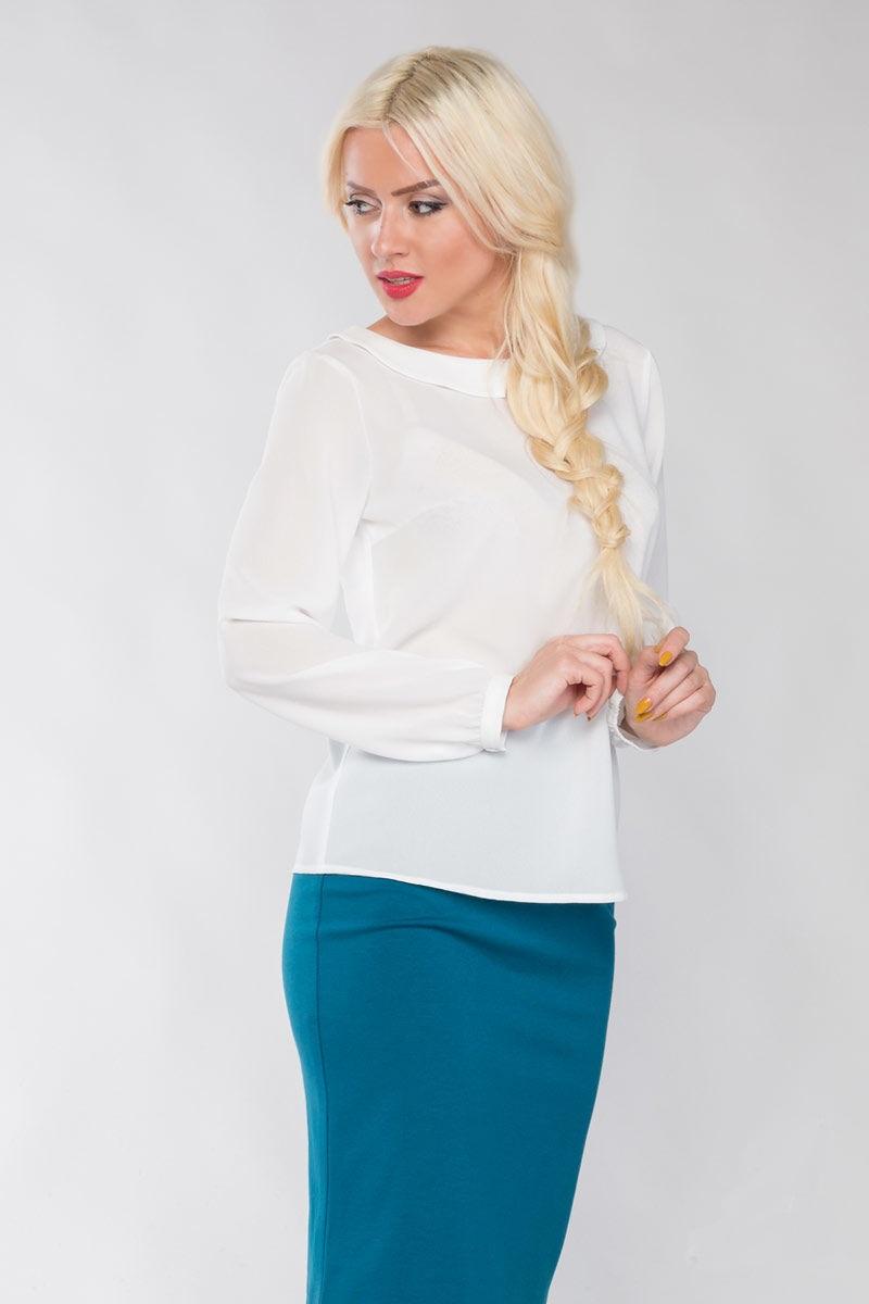 Молочная блузка с длинным рукавом LalaStyle 1150-77
