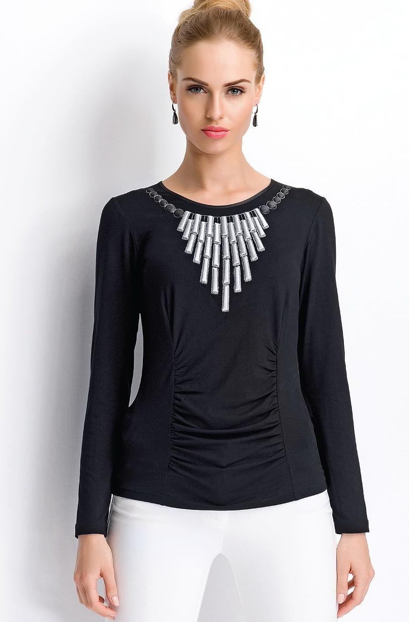 Вечерняя черная блузка Sunwear Р107