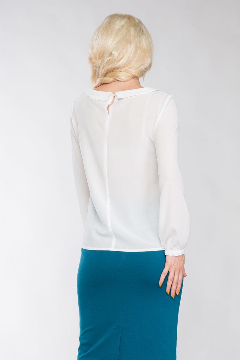 Белая блузка с долгим  рукавом LalaStyle 1150-77