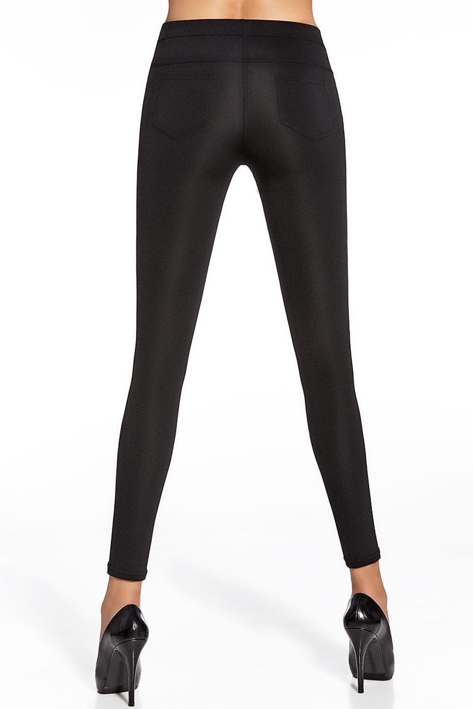 Черные леггинсы имитирующие брюки BAS BLEU Marika PZ 200DEN