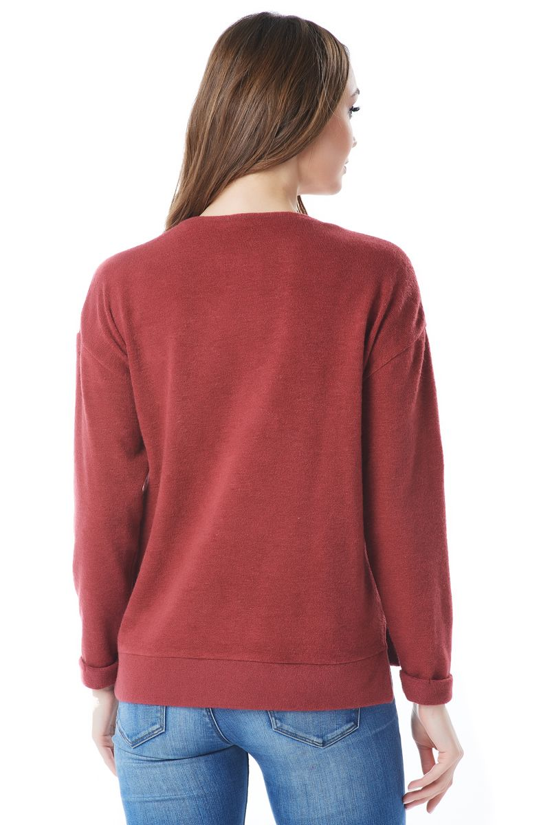 Шерстяной джемпер цвета паприка LalaStyle 1442