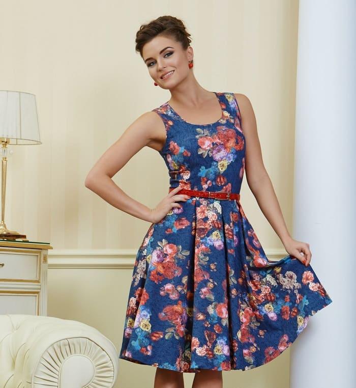 Синее платье с цветочным принтом РА4 54