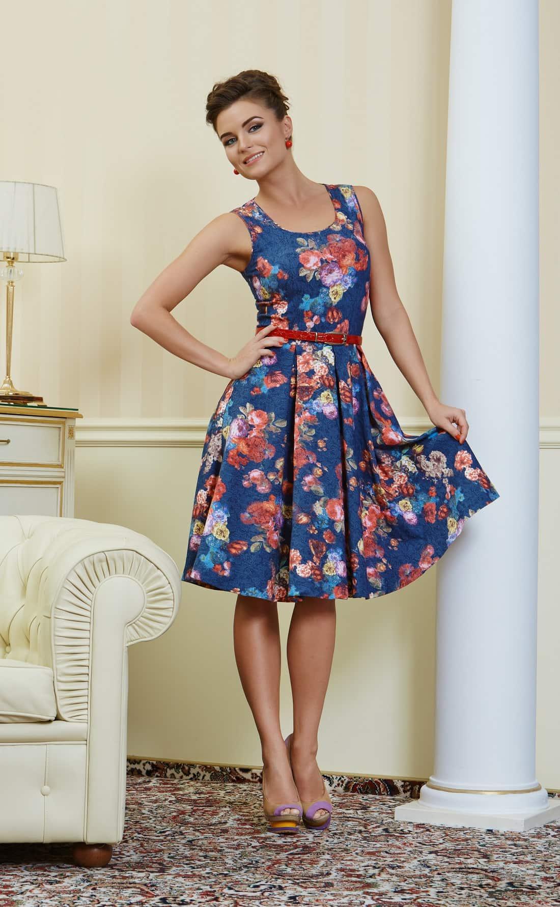 синие платье с принтом