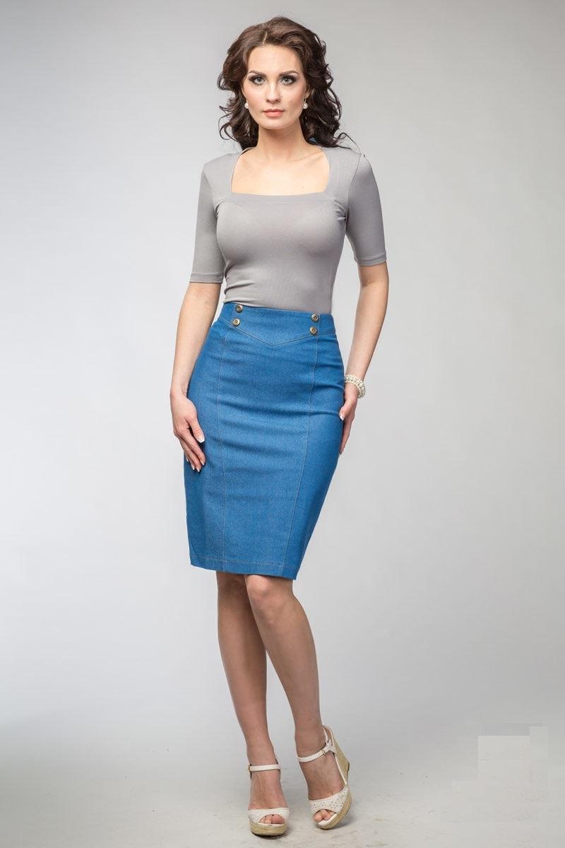 Джинсовая юбка-карандаш LalaStyle 1012-09