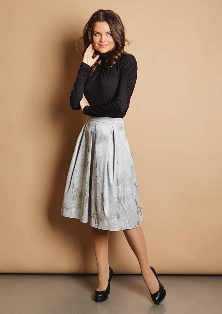 Стильная юбка серебристого оттенка Top Design РB5 06