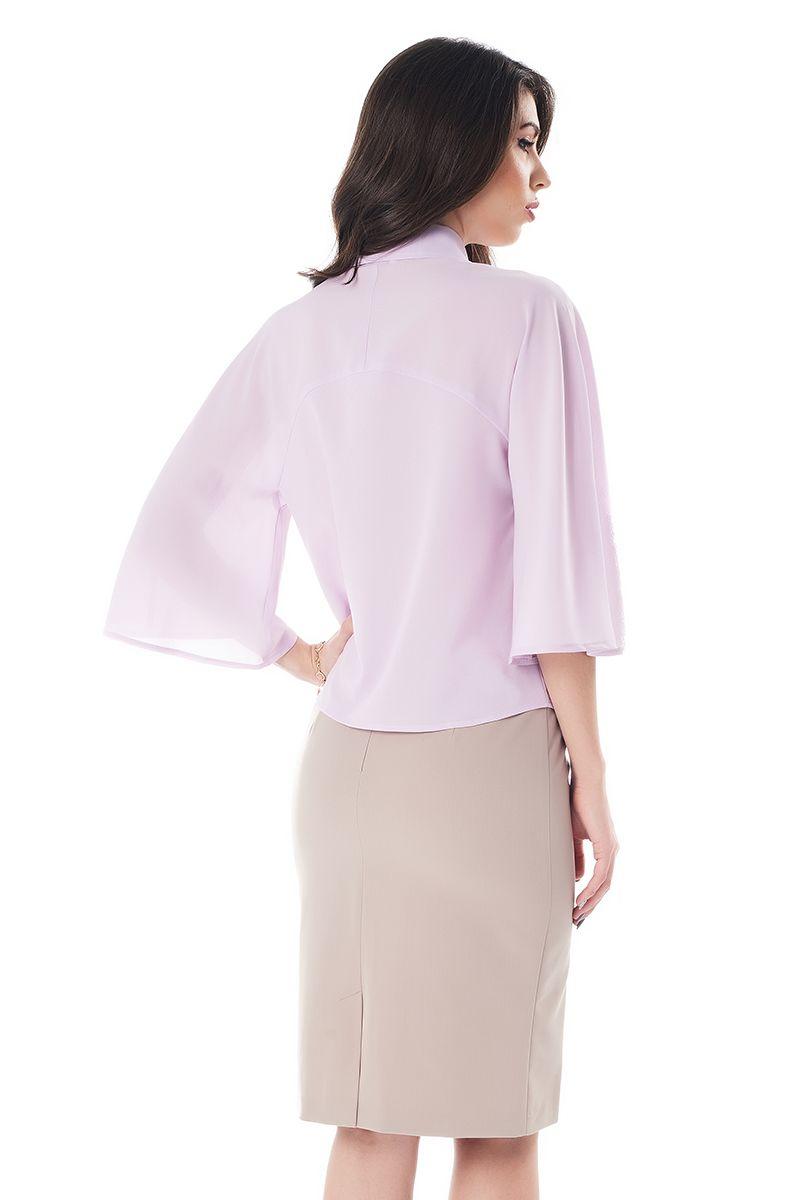 Сиреневая офисная блузка LalaStyle 1373