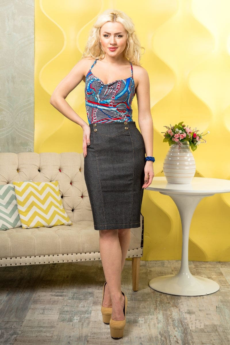 Летняя юбка из джинсы LalaStyle 1012-08
