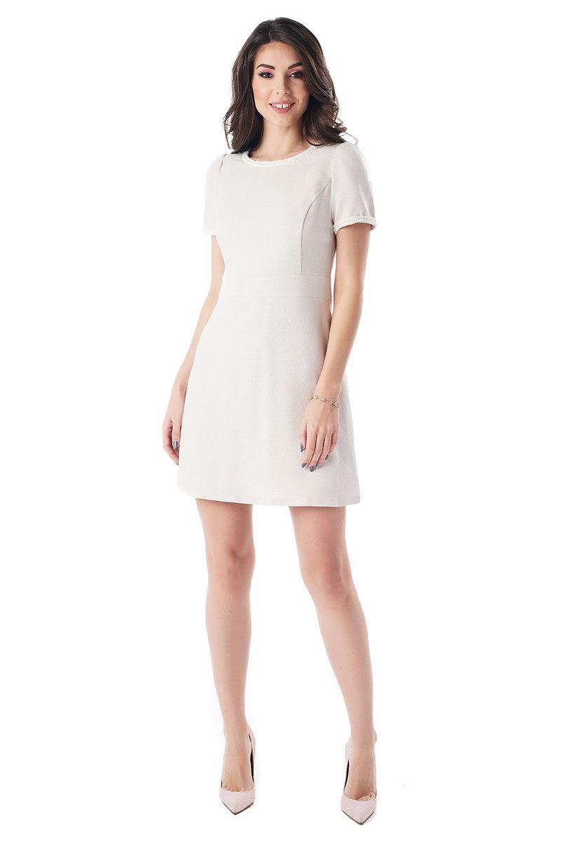 Бежевое короткое платье LalaStyle 1383